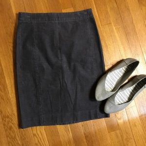 J Crew grey corduroy grey pencil skirt